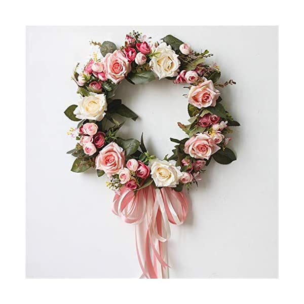 Liveinu Handmade Floral Artificial Simulation Peony Flowers Garland Wreath Wedding Table Centerpieces for Home Party Decor 14″ Rose Red Door Wreath with Ribbon