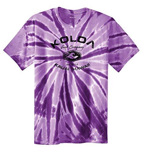 Knit 1970s Vintage - Koloa Surf(tm) Vintage Arch Logo Tie Dye Shirt-Purple/b-L