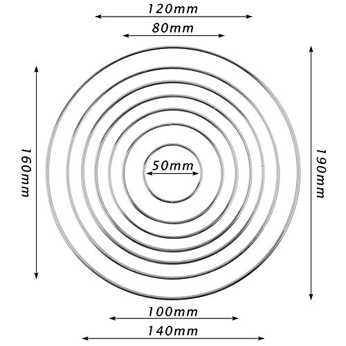 VGOODALL 14 Stk. 7 Größen Metallringe Drahtring Metall Ringe Hoops für Traumfänger