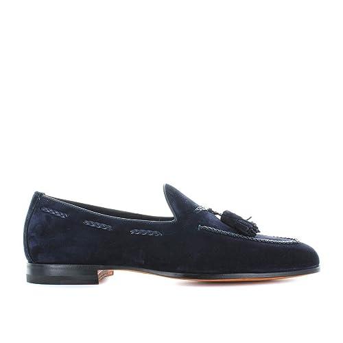 Zapatos de Hombre Mocasín con Borlas Ante Azul Santoni Primavera Verano 2018: Amazon.es: Zapatos y complementos