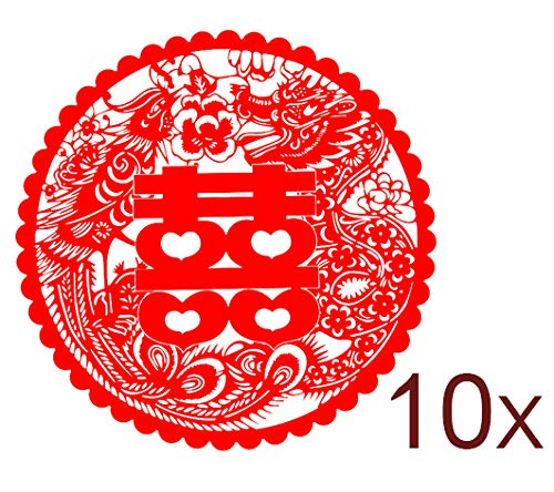 Just-Stick-It Shuang Xi - Double Happiness - Chinese Wedding Decoration - Plastic Paper Cut (A Pair - 10/pk)