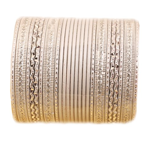 New! Touchstone Colorful 2 Dozen Bangle Collection Indian Bollywood Alloy Metal Textured Vanilla White Designer Jewelry Special Large Size Bangle Bracelets Set of 24 in Antique Gold Tone for Women