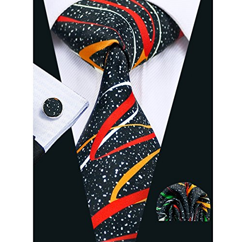 Hi-Tie New Design Novelty Tie Set Hanky Cufflinks,Black Red,One Size