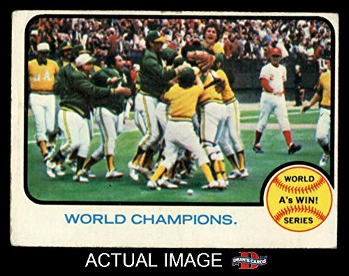 1973 Baseball (1973 Topps # 210 1972 World Series - Summary - A's Win - World Champions Oakland / Cincinnati Athletics / Reds (Baseball Card) Dean's Cards 5 - EX Athletics / Reds)