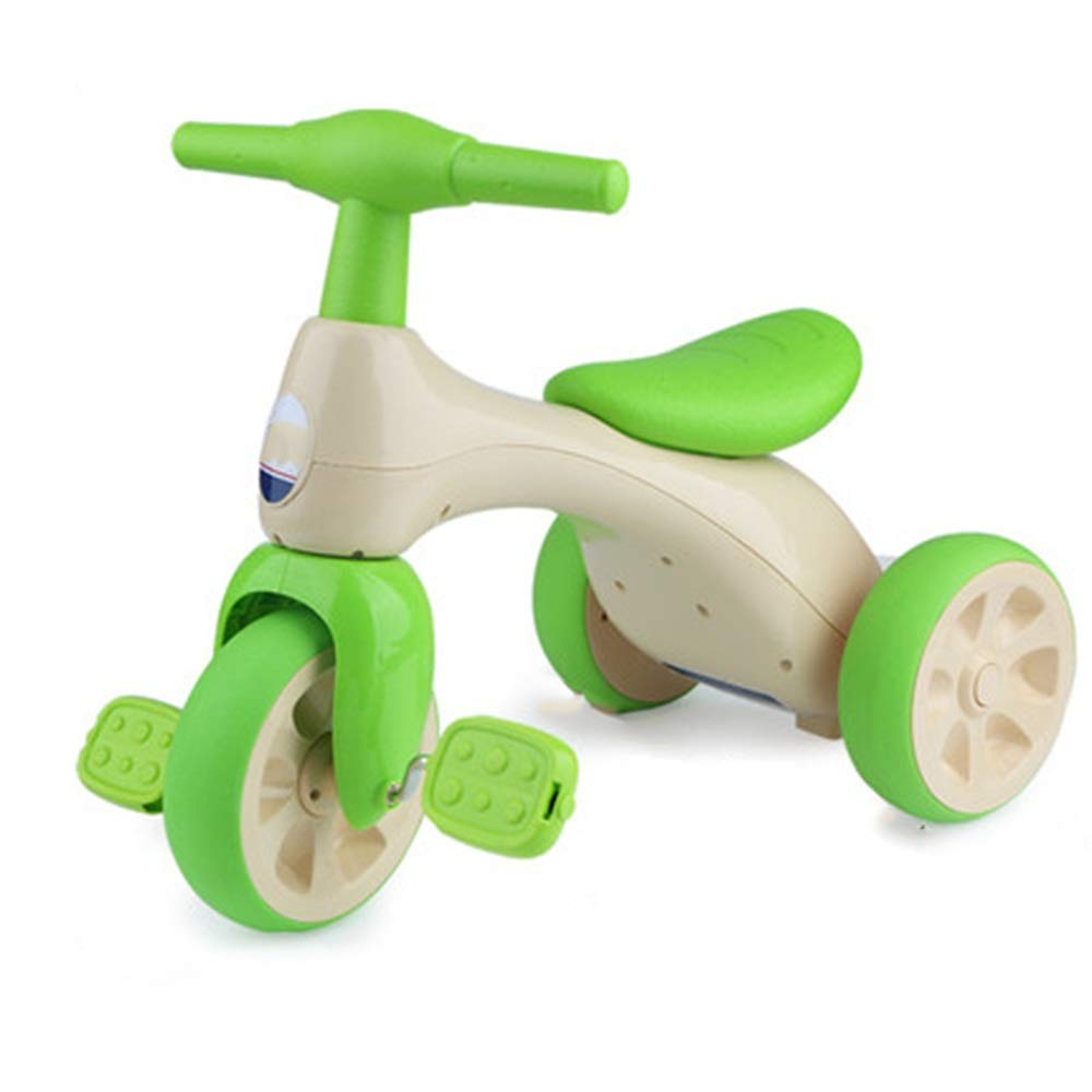 Axdwfd 子ども用自転車 キッズ三輪車キッズペダル自転車13年古い、ベビーカー男の子ガールズトイカー積載量50kg(グレープパープル、グリーングラスグリーン)  Green grass green B07Q1735SR