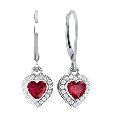 ac0348af7 Amazon.com: Hanssini Jewels 2.50 CT Heart Shaped Ruby CZ 14k White Gold  Plated HALO Ladies Drop & Dangle Earrings: Jewelry