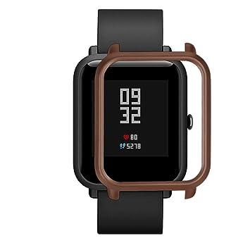 ... Colorida Carcasa de PC Funda Proteger Carcasa para Xiaomi Huami Amazfit Bip Youth Watch Protector para Reloj (café): Amazon.es: Deportes y aire libre