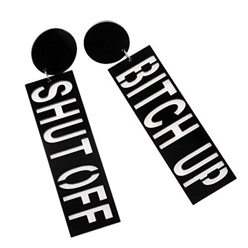 MonkeyJack 1 Pair Oversized Lond Dangle Drop BITCH UP SHUT OFF Hip-hop Acrylic Hook Earrings - Black