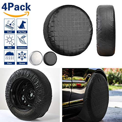 VIEFIN Set of 4 Wheel Tire Covers, Waterproof UV Sun RV Trailer Tire Protectors, Fit 27″ to 32″ Truck Camper Van Auto Car Tires Diameter (PEVA-Black, fit 33 to 35 inch tire Diameter)