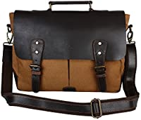 Rustic Town Handmade Leather Canvas Vintage Crossbody Messenger Bag Gift Men Women Travel Work ~ Carry Laptop Computer Books ~ Everyday Office College School Satchel 15 inch (Dark Brown)
