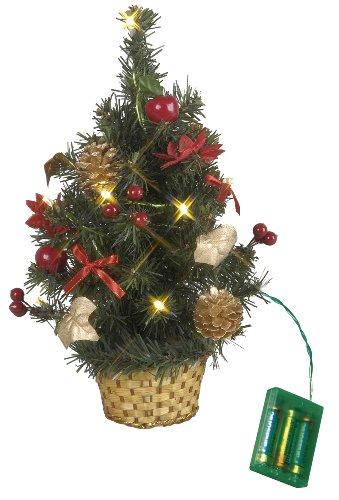 Best Season LED-Tannenbaum im Korb, beleuchtet circa 30 x 25 cm, 10 warm weiß LED rote Dekoration, batteriebetrieben 600-90