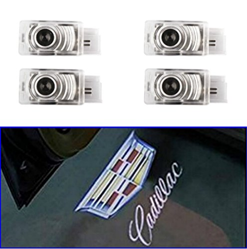 AMINEY 4 Pcs Door Welcome Lights Ghost Shadow Logo Light Led Door Projectors For Cadillac, New Logo, Easy Installation