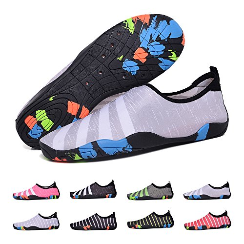 BlanKey Water Sports Shoes Quick-Dry Barefoot Flexible Flats Beach Swim Shoes for Men Women Kids Grey&white-40