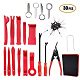 Rabbica Car Trim Removal Tool 30pcs Auto Door Panel Removal Tool for Dash Center Console Installation and Remover with Terminal Removal Tools (red)