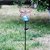 A Ting Outdoor Metal Solar Powered Garden Stake Lights with Orb and Stake,Butterfly
