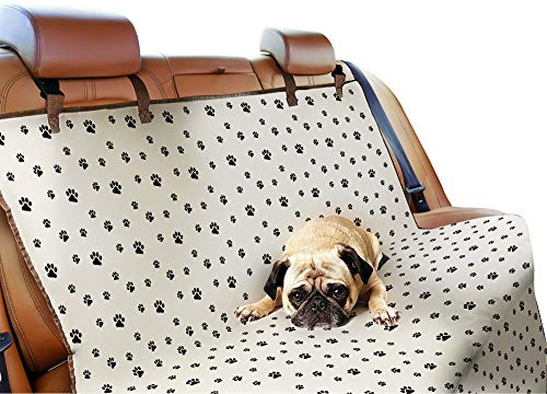 Bundaloo Seat Covers | Car, Truck, SUV and Van Protector | Waterproof, Machine Washable, Easy to Clean Cover | Pet Accessories for Back Seat (Paw Print)