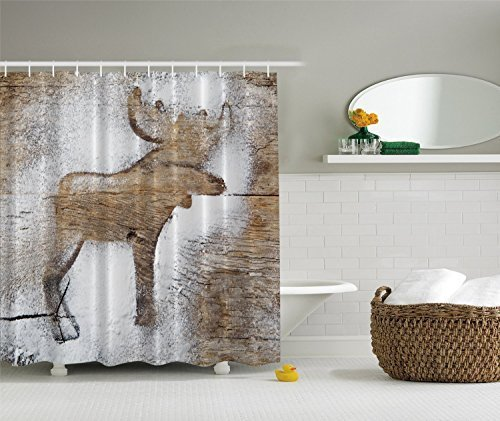 Rustic Winter Moose Holiday Christmas Fabric Shower Curtain (Winter Moose)