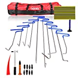 WHDZ PDR Rods Set 24 Pcs Auto Car Body Paintless Dent Repair Tool PDR Line Board Dent Hammer for Door Dings Hail Repair and Dent Removal