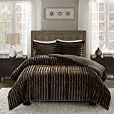 Full Size Bed Comforter Madison Park Duke Full/Queen Size Bed Comforter Set - Chocolate, Solid – 3 Pieces Bedding Sets – Faux Fur Plush Bedroom Comforters