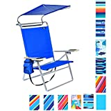 Deluxe Lightweight 4 Position High Seat Aluminum Beach Chair with...
