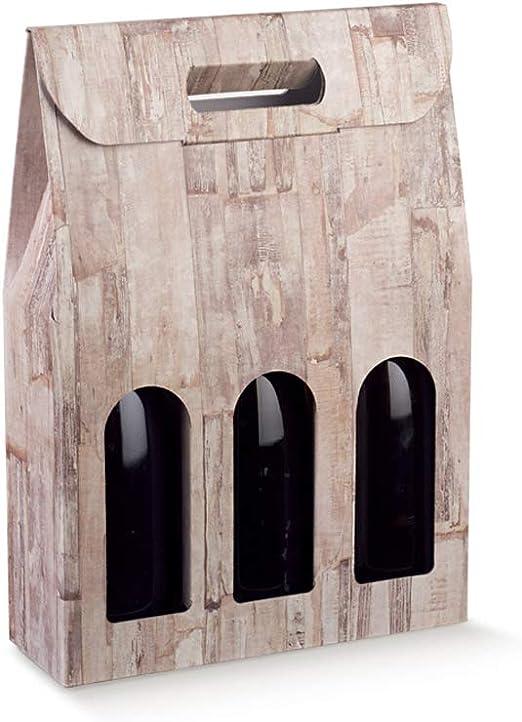 Caja de regalo para botella de vino con efecto de madera natural para 3 botellas: Amazon.es: Hogar