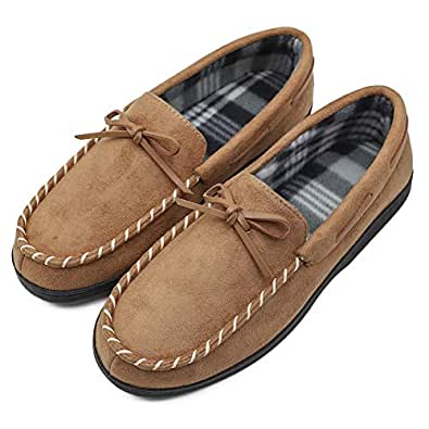 Men's Moccasin Slippers Flannel Lined Light Weight Home House Loafers Flats with Anti-Skid Rubber Sole Indoor & Outdoor Camel