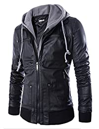 WSLCN Mens Faux Leather Hooded Zipper Jacket