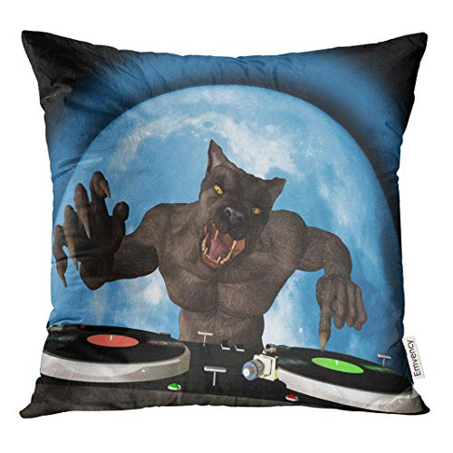 Semtomn Decorative Throw Pillow Case Cushion Cover Lycan Dj Werewolf is in The House and Mixing 16x16 Inch Cases Square Pillowcases Covers
