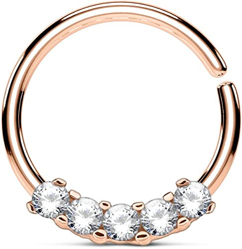 Amelia Fashion 14 Gauge Rose Gold Heart Clear CZ Navel Ring 316L Surgical Steel