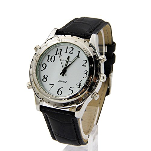 (New English Talking Wristwatches English Voice Quartz Wristwatch watch leather band For Blind Person Visually Impaired or the Elderly)