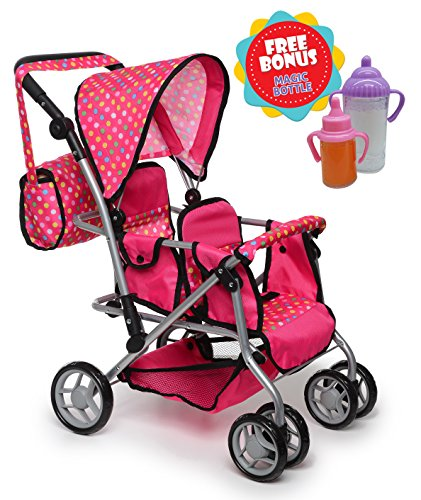 Exquisite Buggy, TWIN DOLL Stroller with Diaper Bag and Swivel Wheels & Adjustable Handle - Pink & POLKA DOTS Design With 2 FREE Magic Bottles (Double Doll Stroller Baby)