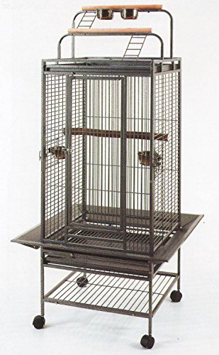 New Large Play Top Bird Cage Parrot Finch Macaw Cockatoo Bird Wrought Iron Cage *Black Vein*