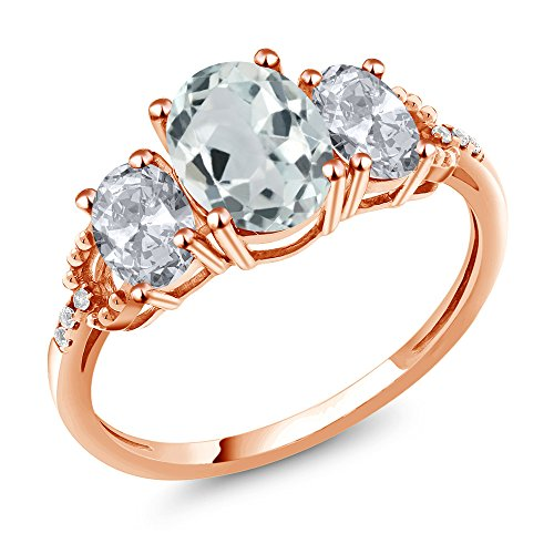Gem Stone King 2.14 Ct Oval Sky Blue Aquamarine White Topaz 10K Rose Gold Diamond Accent Ring (Size 9)
