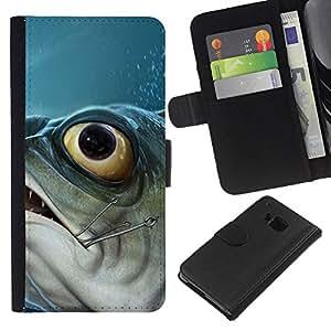 KingStore / Leather Etui en cuir / HTC One M7 / Piranha Fish Hook Pesca Pescador Barco