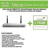 Cisco Meraki MX64W Wireless Firewall Security Appliance Bundle, 200Mbps FW, 5xGbE Ports - Includes 1 Year Advanced Security Lice
