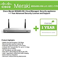 Cisco Meraki MX64W Wireless Firewall Security Appliance Bundle, 200Mbps FW, 5xGbE Ports - Includes 1 Year Advanced Security Lice