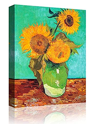 IPIC - Three Sunflowers In A Vase , Vincent Van Gogh Art Reproduction. Giclee Canvas Prints Wall Art for Home Decor 10#F(16X20