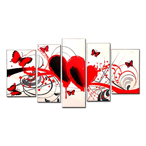 FLY SPRAY 5-Piece 100% Hand-Painted Oil Paintings Panels Stretched Framed Ready Hang Red Butterflies Love Heart Animals Lines Modern Abstract Canvas Living Room Bedroom Office Wall Art Home Decor (Piece 5 Hearts Pink)