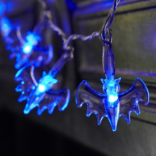Domire Battery Operated LED Fairy String Lights 20 Blue Bat Lights Halloween Decoration (Bat Halloween Decorations)