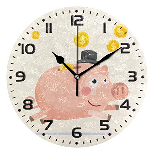 CFAUIRY Silent Non Ticking Wall Clock Cute Pig Bank 9.85 Inch Battery Operated Oil Painting Clocks for Home Decor Living Room Office (Pig Clock Bank)