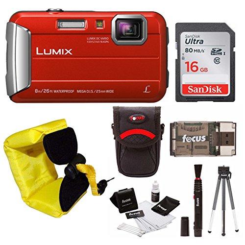 Panasonic Lumix DMC-TS30 Digital Camera (Red) with 16GB Accessory Bundle (Best Panasonic Point And Shoot Camera)
