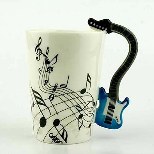 Creative Music Violin Style Guitar Ceramic Mug Coffee Tea Milk Stave Cups with Handle Coffee Mug Novelty Gifts 5 (Yo Yo Maker Flower)