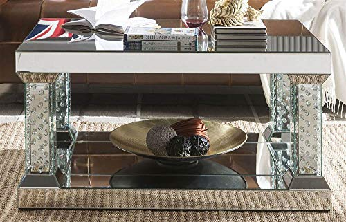 Acme Furniture Industry, INC 36 in. Coffee Table in Mirrored and Faux Crystals