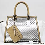 Women'S Two-Tone Metallic Contrast Shoulder Bag W / Bonus Strap and Coin Pouch – White / Silver, Bags Central
