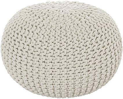 intrecciato a mano grigio. 55 x 35cm MAB Comodo pouf lavorato a maglia 55 cm per soggiorni moderni con certificato /Ökotex