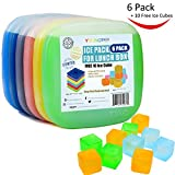 reusable cooler pack - 6 Pack Ice Packs for Lunch Box, Cool Cooler Slim Reusable Ice Packs, Lunch Freezer Pack with FREE 10 Ice Cubes, Multicolored