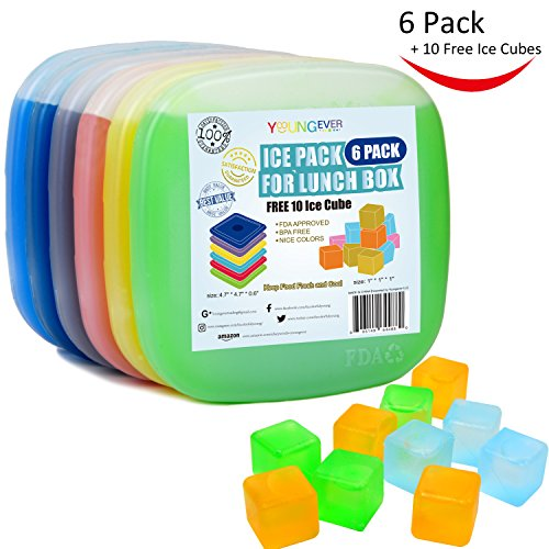 Youngever 6 Pack Ice Packs for Lunch Field, Cool Cooler Slim Reusable Ice Packs, Lunch Freezer Pack with FREE 10 Ice Cubes, Multicolored – DiZiSports Store
