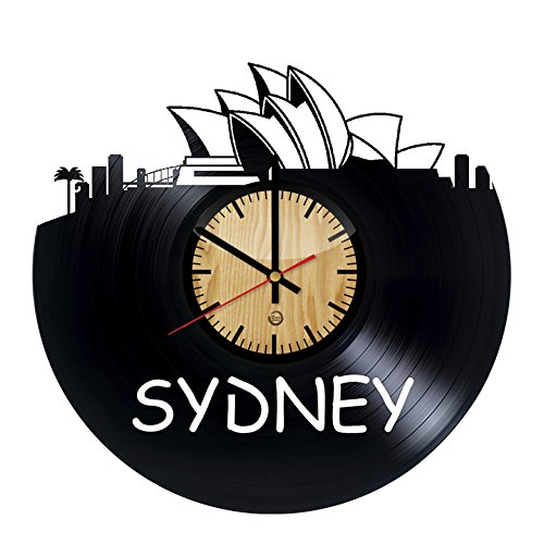 Welcome Dzen Store Sydney Record Wall Clock - Get unique of living room wall decor - Gift ideas for girls and boys - Big City in Australia Unique Art Design -