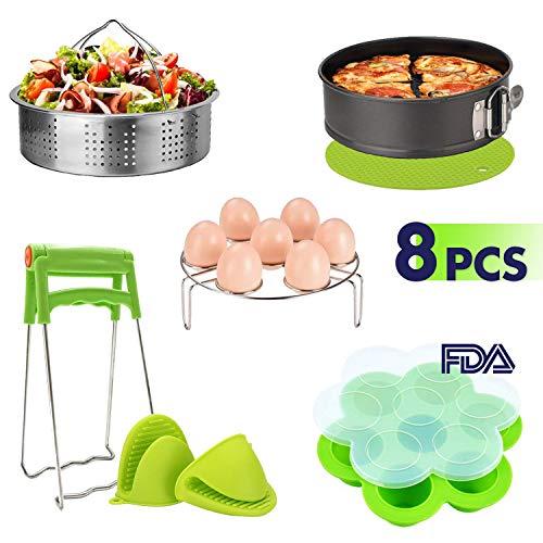 Instant Pot Accessories Set(8pcs) - Steamer Basket, Egg Steamer Rack, Egg Bites Molds, Non-stick Springform Pan, Silicone Mitt, Dish Clamp, Silicone Potholder Mat 2 x Silicone Mitt Fits 5,6,8Qt