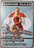 Pin-up Girl Garage Rules Do Not Touch My Tools Retro Vintage Tin Sign 12